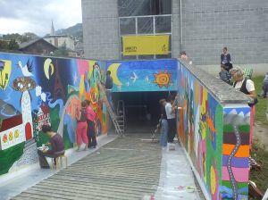 Création du Mur de l'espoir à Monthey, mai 2012